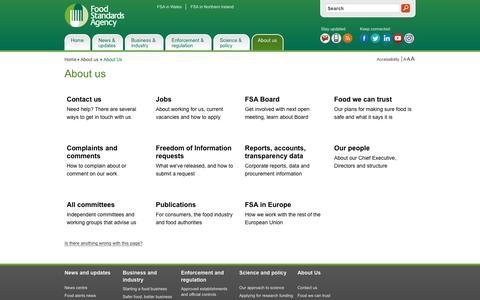 Screenshot of About Page food.gov.uk - About us | Food Standards Agency - captured Nov. 25, 2016