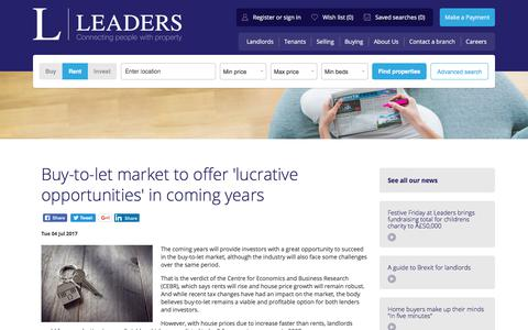 Screenshot of Blog leaders.co.uk - Buy-to-let market to offer 'lucrative opportunities' in coming years - Leaders - Letting & Estate Agents - captured July 6, 2017
