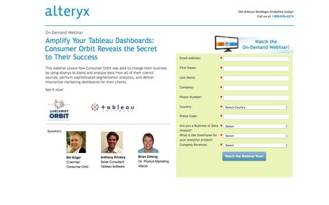 Screenshot of Landing Page alteryx.com - Webinar: Amplify your Tableau Dashboards: Consumer Orbit Reveals the Secret to Their Success - captured Feb. 29, 2016