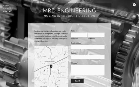 Screenshot of Contact Page mrd-engineering.com - Contact — MRD Engineering - captured Aug. 3, 2015
