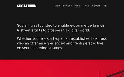 Screenshot of About Page sustainagency.com - About — Sustain - captured July 7, 2018