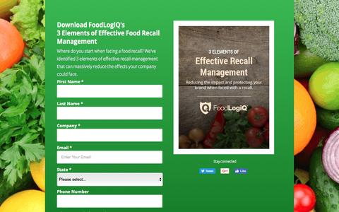 Screenshot of Landing Page foodlogiq.com - 3 Elements of Effective Food Recall Management Across Your Supply Chain - captured May 15, 2017