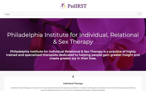 Screenshot of Home Page phiirst.com - Philadelphia Institute for Individual, Relational & Sex Therapy - captured Nov. 10, 2018