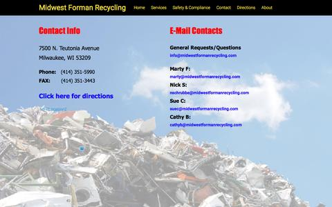 Screenshot of Contact Page midwestformanrecycling.com - Contact – Midwest Forman Recycling - captured Aug. 11, 2016