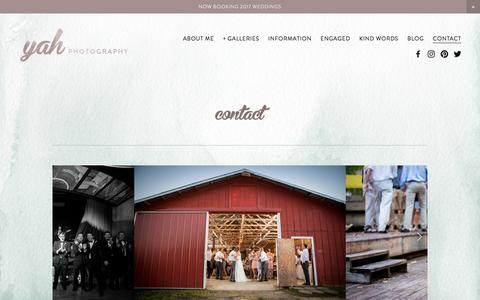Screenshot of Contact Page yahphotography.com - CONTACT — yah Photography - captured Dec. 10, 2016