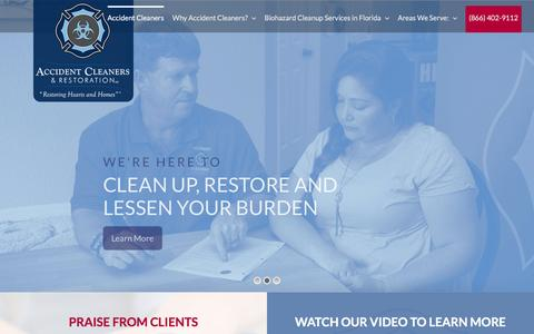 Screenshot of Home Page accidentcleaners.com - Crime Scene, Biohazard, Blood Suicide, Death Cleanup in Florida - captured May 28, 2017