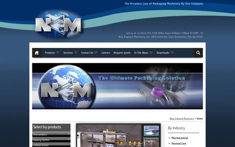 Screenshot of Home Page neminc.com - New England Machinery. World-wide Packaging Equipment Specialists - captured Sept. 4, 2015