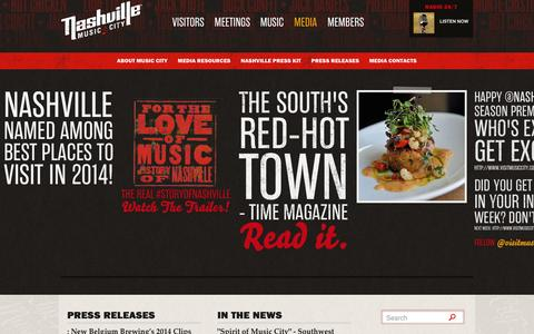 Screenshot of Press Page visitmusiccity.com - Nashville Media Releases, Pictures, News and Press  | Visit Nashville, TN - Music City - captured Sept. 25, 2014