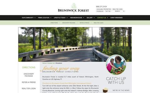 Screenshot of Maps & Directions Page brunswickforest.com - Directions to Brunswick Forest - captured Oct. 5, 2014