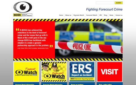 Screenshot of Home Page bossuk.org - BOSS fighting forecourt crime - captured Oct. 5, 2014