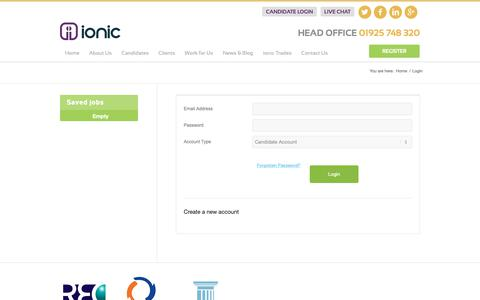 Screenshot of Login Page ionic.jobs - Ionic Recruitment - Construction Recruitment Specialists - captured Oct. 8, 2018