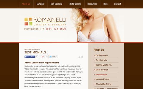 Screenshot of Testimonials Page jrcs.com - Long Island Plastic Surgeon Testimonials - Romanelli Cosmetic Surgery - captured Oct. 6, 2014