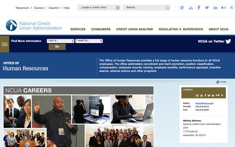 Screenshot of Jobs Page ncua.gov - Office of Human Resources - captured Dec. 19, 2016