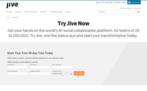 Screenshot of Trial Page jivesoftware.com - Try Jive | Jive Software - captured July 20, 2014