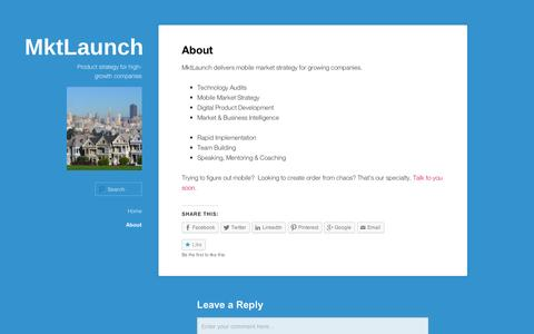 Screenshot of About Page wordpress.com - About | MktLaunch - captured Sept. 12, 2014