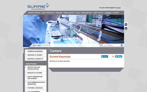 Screenshot of Jobs Page sst-us.com - Careers | About Surrey Satellite Technology (SST-US) - captured Oct. 18, 2018