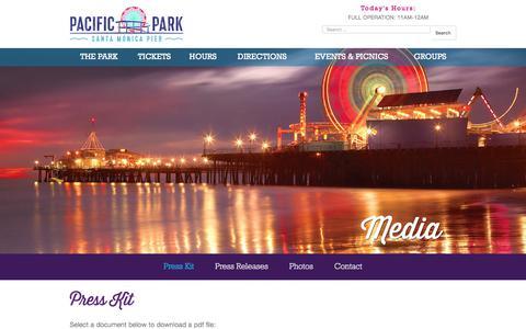 Screenshot of Press Page pacpark.com - Pacific Park®   Media Press Kit - captured Sept. 23, 2018