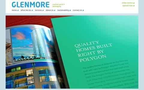 Screenshot of Home Page glenmorecustomprint.com - Glenmore Custom Print + Packaging - captured June 17, 2015