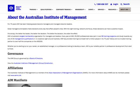 Screenshot of About Page aim.com.au - About the Australian Institute of Management | Australian Institute of Management - captured Nov. 13, 2015