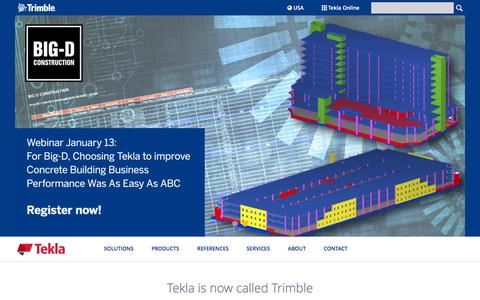 Screenshot of Home Page tekla.com - Tekla | Model-based software at the core of Trimble's structural engineering and construction offering. - captured Jan. 13, 2016