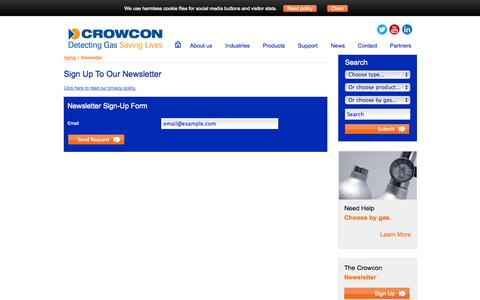 Screenshot of Signup Page crowcon.com - Newsletter - captured Oct. 10, 2014