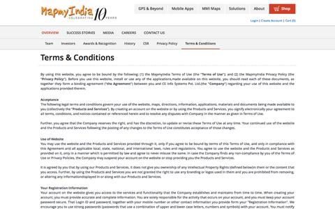 Screenshot of Terms Page mapmyindia.com - Terms and Conditons: MapmyIndia - captured Sept. 16, 2014
