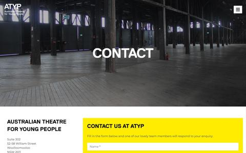 Screenshot of Contact Page atyp.com.au - Contact - ATYP - captured Oct. 30, 2018