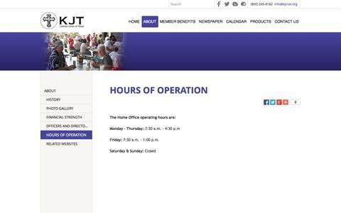 Screenshot of Hours Page kjtnet.org - HOURS OF OPERATION - Catholic Union of Texas, The KJT - La Grange, TX - captured Nov. 1, 2014