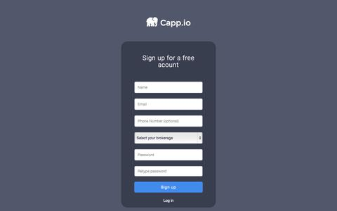 Screenshot of Signup Page capp.io - Cappio - captured Nov. 14, 2015