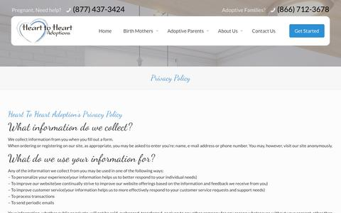 Screenshot of Privacy Page hearttoheartadopt.com - Privacy Policy | Information Disclosure | Adoption Agency Utah - captured Jan. 27, 2016