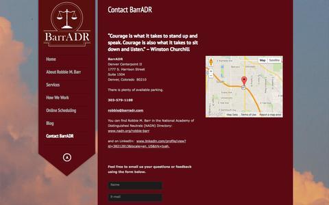Screenshot of Contact Page barradr.com - Contact BarrADR | ADR Services |  Denver, Colorado | BarrADR - captured Oct. 5, 2014