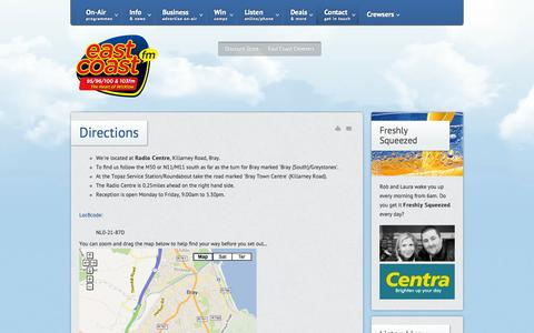 Screenshot of Maps & Directions Page eastcoast.fm - Directions - East Coast FM - Wicklow's Favourite Radio Station - captured Oct. 1, 2014