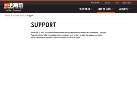 Screenshot of Support Page compactserv.com - Support | Compact Power Equipment Services - captured Aug. 17, 2017