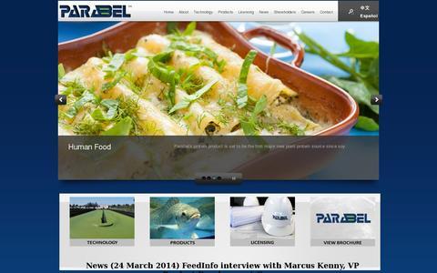 Screenshot of Home Page parabel.com - Parabel - Welcome - captured July 11, 2014