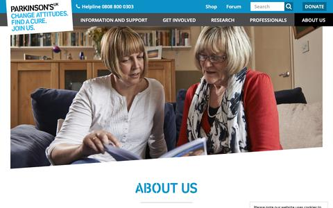 Screenshot of About Page parkinsons.org.uk - About us | Parkinson's UK - captured Feb. 16, 2019