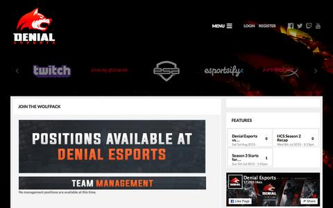 Screenshot of Jobs Page denialesports.com - Join the WolfPack - Pages - Denial eSports - captured Jan. 7, 2016