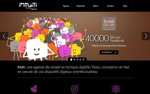 Screenshot of Home Page intuiti.net - Intuiti   agence de conseil en tactique digitale - captured Sept. 23, 2014