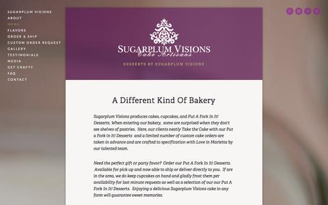 Screenshot of Menu Page sugarplum-visions.com - Menu — Put A Fork In It! - captured Sept. 30, 2014
