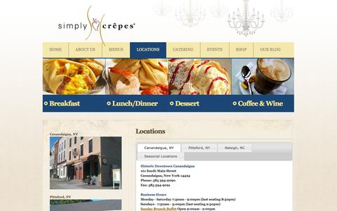 Screenshot of Locations Page simplycrepes.com - Simply Crêpes > Locations - captured Oct. 9, 2014