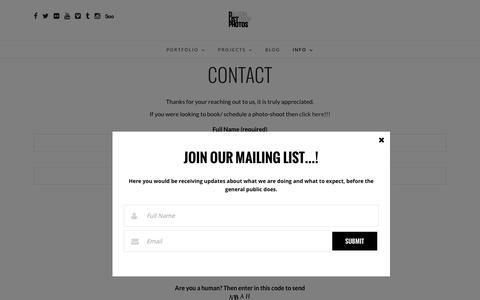 Screenshot of Contact Page dlistphotos.com - Contact | DLISTPHOTOS - captured Jan. 7, 2016