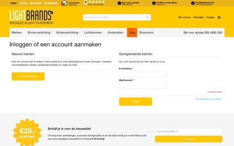 Screenshot of Login Page lightbrands.nl - Klant-login - captured Oct. 18, 2018