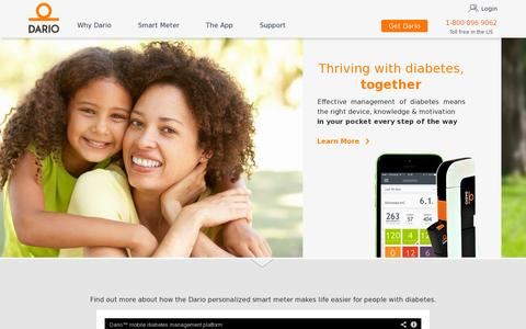 Screenshot of Home Page mydario.com - Mydario | Glucose Monitoring System For Your Smartphone | Manage your diabetes - captured July 11, 2014