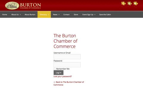 Screenshot of Login Page burtonchamberofcommerce.org - The Burton Chamber of Commerce ‹ Log In - captured July 31, 2016