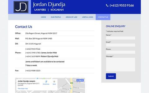 Screenshot of Contact Page jordandjundja.com.au - Jordan Djundja - Lawyers & Solicitors | Kogarah | St George | Sydney | Contact Us - captured Oct. 16, 2017