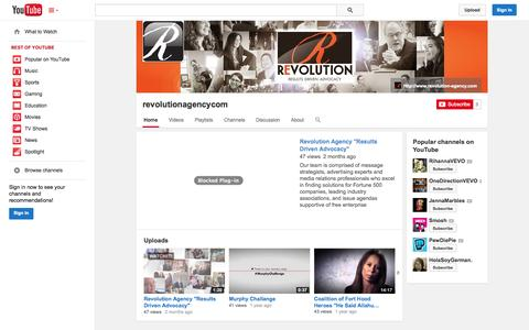 Screenshot of YouTube Page youtube.com - revolutionagencycom  - YouTube - captured Oct. 29, 2014