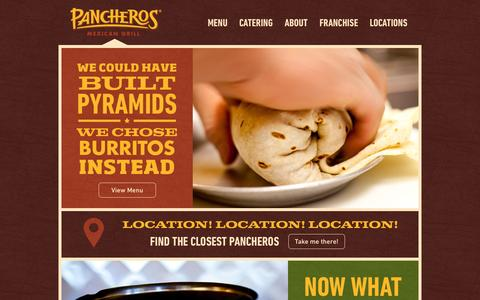 Screenshot of Home Page pancheros.com - Pancheros Mexican Grill - Quick Casual Restaurant - Burritos Better Built.™ - captured Oct. 1, 2014