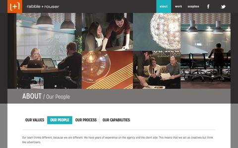 Screenshot of Team Page rabbleandrouser.com - rabble+rouser                             - About - captured Sept. 23, 2014