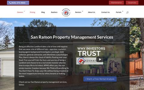 Screenshot of Pricing Page advantagepms.com - San Ramon Property Management Services | Advantage PMS - captured Oct. 3, 2018
