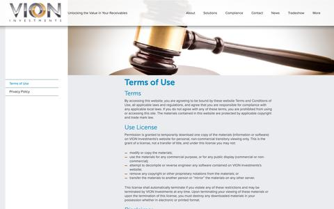 Screenshot of Terms Page vioninv.com - VION   - captured Nov. 15, 2018