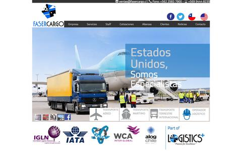 Screenshot of Home Page fasercargo.cl - Transporte internacional - servicios  de operador logístico - captured Feb. 9, 2016